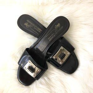 Black Silver Metallic Buckle Slide Heel Sandals 9N